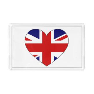 Bandeja De Acrílico Coração da bandeira de Reino Unido