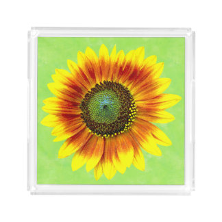 Bandeja De Acrílico Flor amarela do girassol e verde floral corajosa