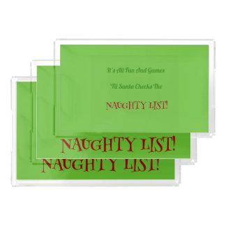 Bandeja De Acrílico Lista impertinente do Natal cómico decorativa