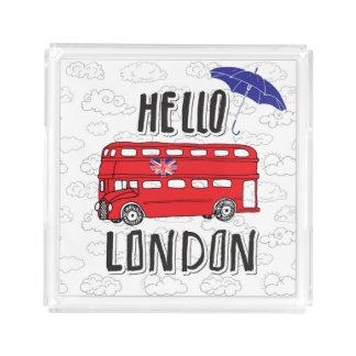 Bandeja De Acrílico Olá! sinal indicado por letras da mão de Londres |