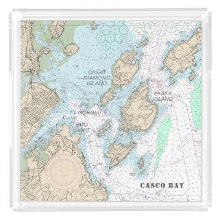 Bandeja De Acrílico Ordem feita sob encomenda: Carta náutica autêntica