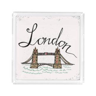 Bandeja De Acrílico Ponte indicada por letras de Londres da mão