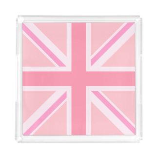 Bandeja De Acrílico Rosa Union Jack/quadrado da bandeira
