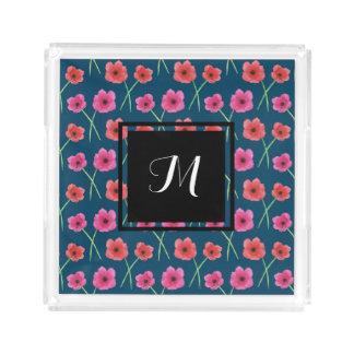 Bandeja De Acrílico Teste padrão da pintura da aguarela da flor da