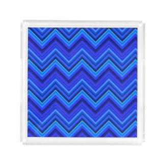 Bandeja De Acrílico Teste padrão de ziguezague das listras azuis