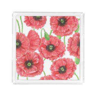 Bandeja De Acrílico Teste padrão floral das papoilas da aguarela