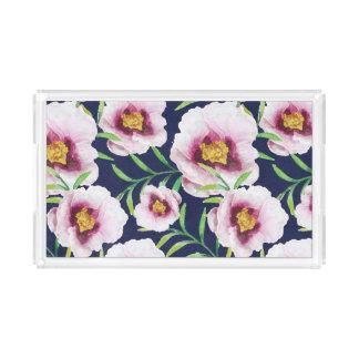 Bandeja De Acrílico Teste padrão floral do vintage cor-de-rosa doce da