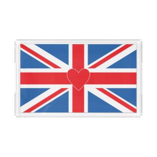 Bandeja De Acrílico Union Jack/bandeira & coração