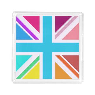 Bandeja De Acrílico Union Jack colorido/quadrado da bandeira