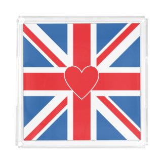 Bandeja De Acrílico Union Jack/quadrado & coração da bandeira