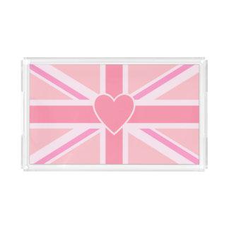 Bandeja De Acrílico Union Jack/rosa & coração da bandeira