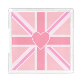 Bandeja De Acrílico Union Jack/rosa & coração quadrados da bandeira
