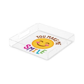 Bandeja De Acrílico Você faz-me o sorriso Emoji