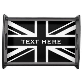 Bandeja ~ de Union Jack preto e branco