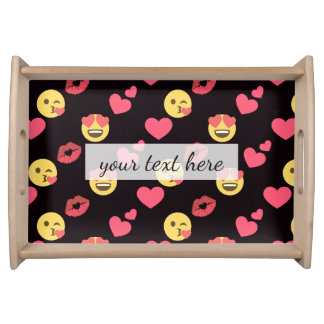 Bandeja os corações doces bonitos do amor do emoji beijam