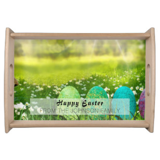 Bandeja Ovos da páscoa em verdes e em azuis do primavera