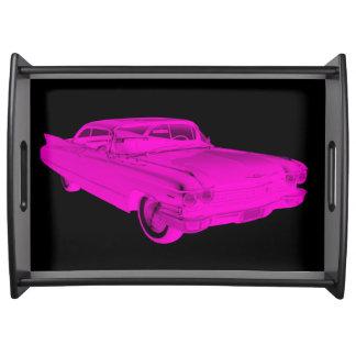 Bandeja Pop art cor-de-rosa e preto do carro 1960 luxuoso