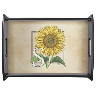 Bandeja S para o monograma da flor do girassol