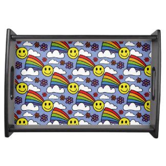 Bandeja Smiley face do arco-íris e teste padrão do Hippie