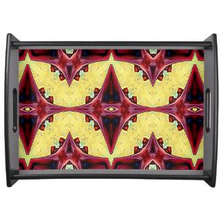 Bandeja Teste padrão abstrato simétrico vermelho amarelo