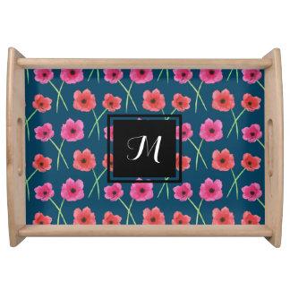 Bandeja Teste padrão da pintura da aguarela da flor da
