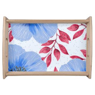 Bandeja Teste padrão de flores bonito da papoila azul