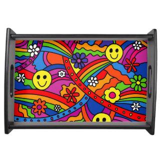 Bandeja Teste padrão do hippy do arco-íris e da flor do