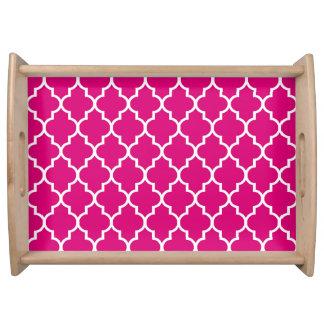 Bandeja Teste padrão magenta de Quatrefoil do marroquino