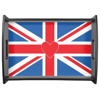 Bandeja Union Jack/bandeira & coração