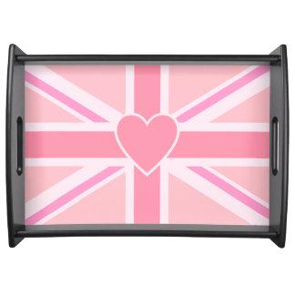 Bandeja Union Jack/rosa & coração da bandeira