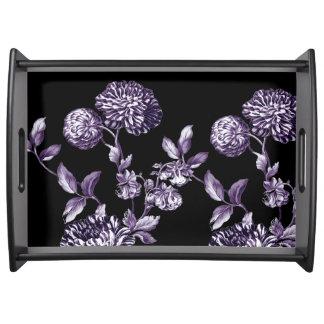 Bandeja Vintage roxo Toile floral do Mulberry preto