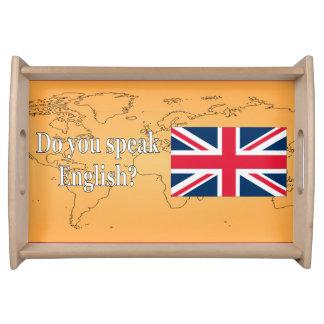 Bandeja Você fala o inglês? em inglês. Wf da bandeira