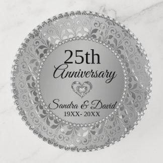 Bandejas Aniversário de casamento de prata Sparkling do