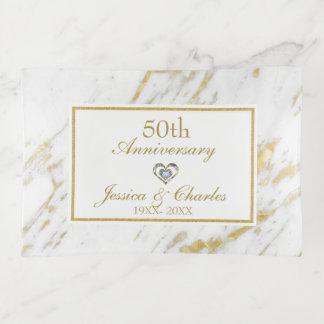 Bandejas Aniversário de mármore branco do ouro do brilho do