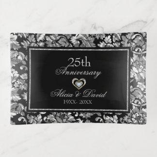 Bandejas Aniversário do damasco de prata metálico 25o