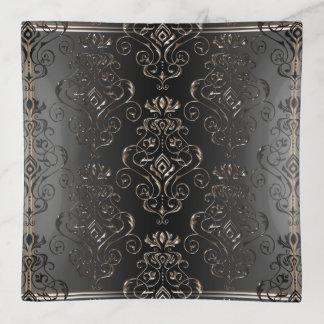 Bandejas Bandeja floral ornamentado preta antiga do Trinket