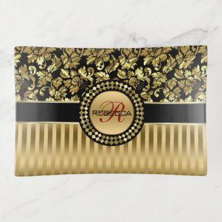 Bandejas Damasco do ouro e monograma metálicos das listras