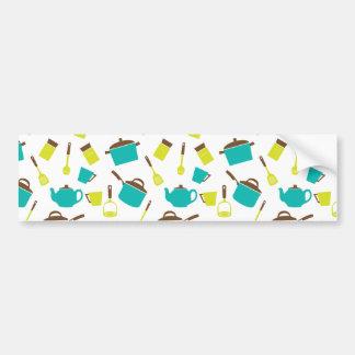 Bandejas e utensílios felizes dos potes da cozinha adesivo para carro