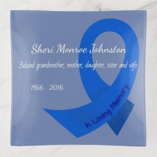 Bandejas Fita azul na memória do personalizado
