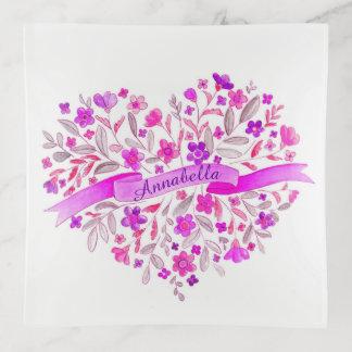 Bandejas O rosa roxo floral da aguarela personaliza o nome