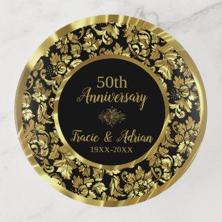 Bandejas Ouro e aniversário de casamento Preto do ouro
