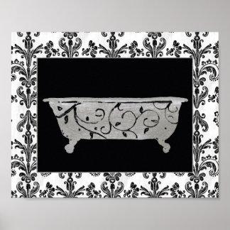 Banheira em preto e branco pôster