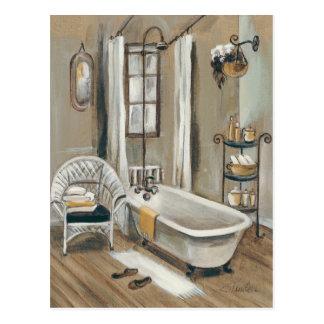 Banheiro francês com banheira cartão postal