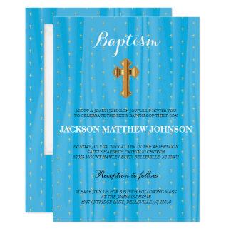 Baptismo bonito do cetim/batismo azuis & brancos convite 12.7 x 17.78cm