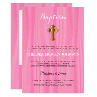 Baptismo bonito do cetim/batismo cor-de-rosa & convite 12.7 x 17.78cm