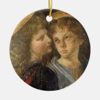 Baptismo de anjos do cristo por Leonardo da Vinci Ornamento De Cerâmica