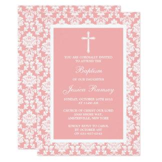 Baptismo ou batismo cor-de-rosa da cruz do damasco convite 12.7 x 17.78cm
