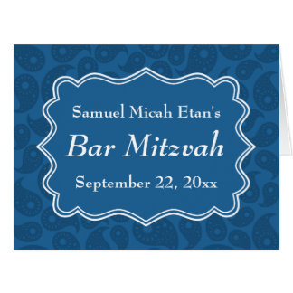 Bar azul escuro Mitzvah do teste padrão de Paisley Cartão Comemorativo Grande