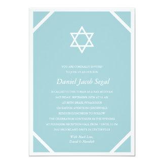 Bar azul simples Mitzvah Convite 12.7 X 17.78cm