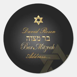 Bar clássico Mitzvah/preto de PixDezines+ouro Adesivos Redondos